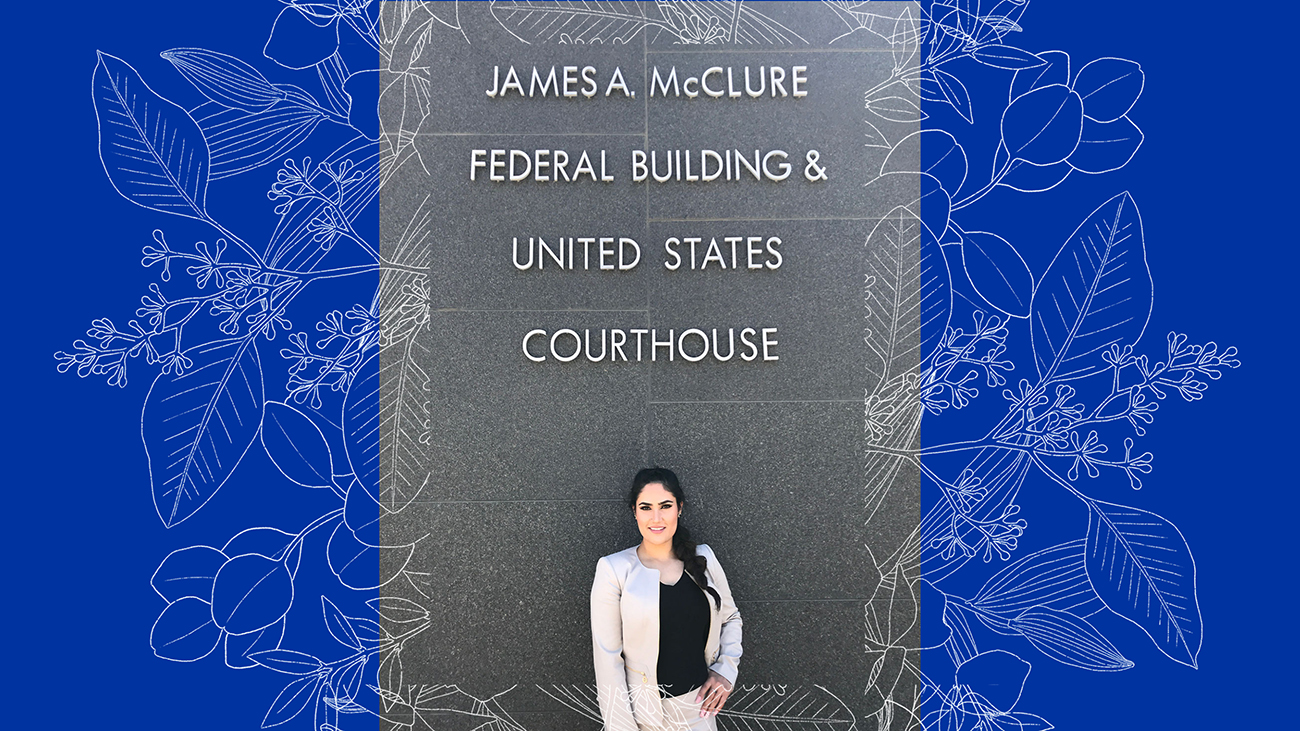 Rana Mohmand poses in front of the courthouse where she received her U.S. citizenship.
