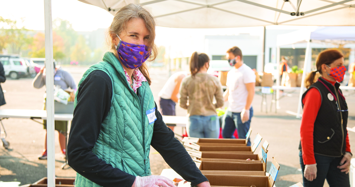 Woman working at a farmers market