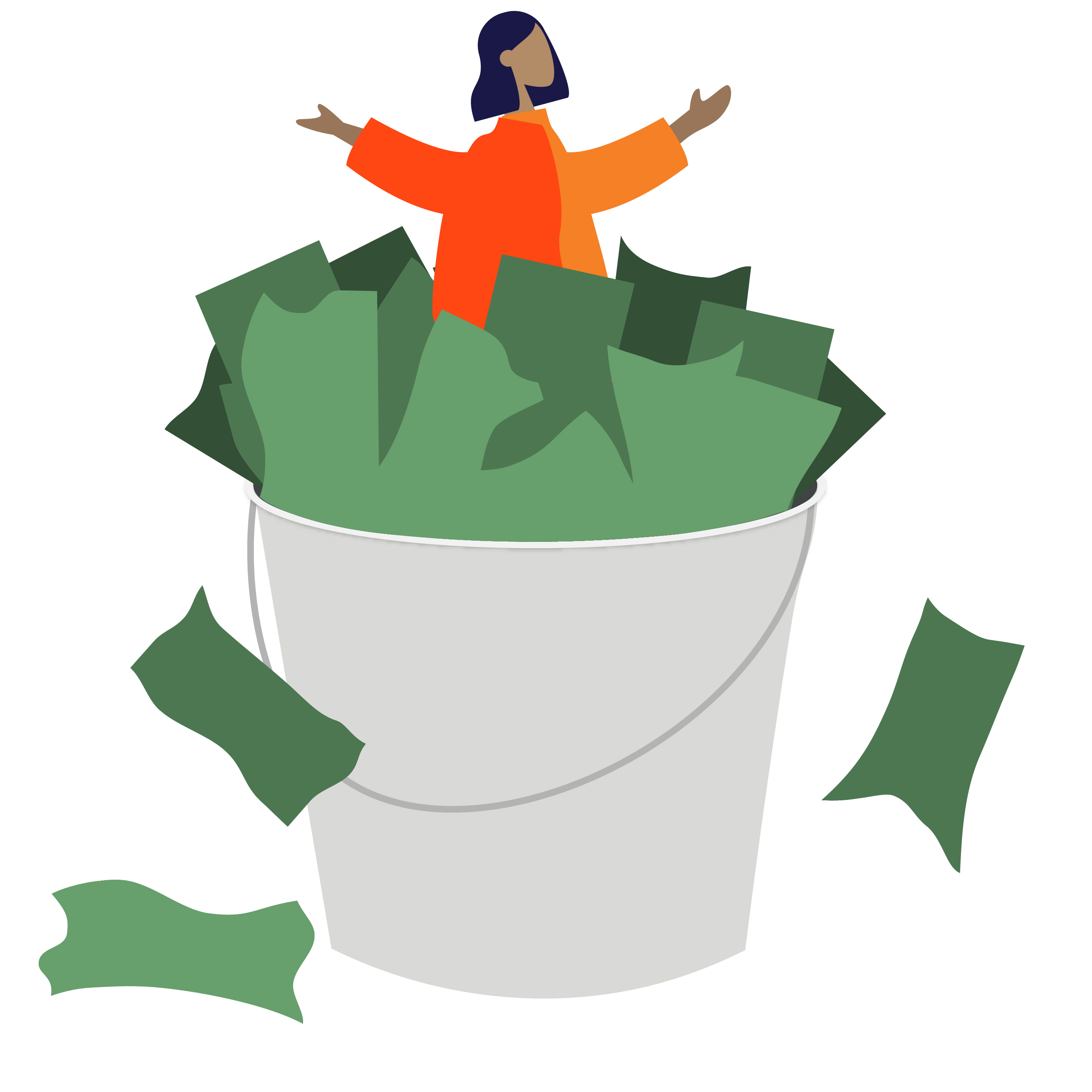 Student sits in a bucket full of dollar bills