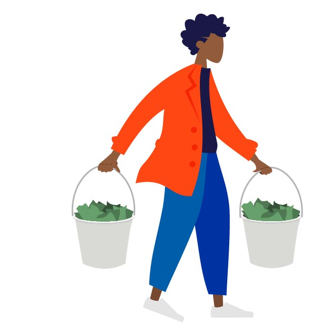 A person carries two full buckets of dollar bills.