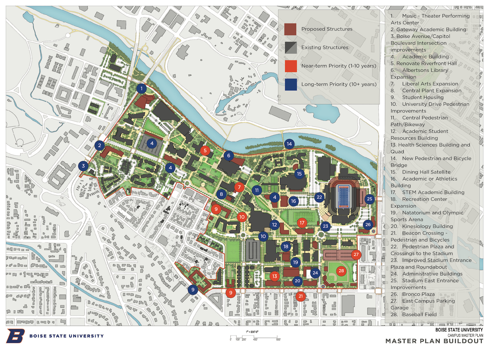 bsu map of campus Boise State University Campus Map Campus Map bsu map of campus