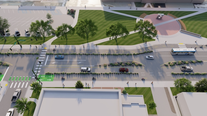 Rendering of a two-way cycle track on University Drive