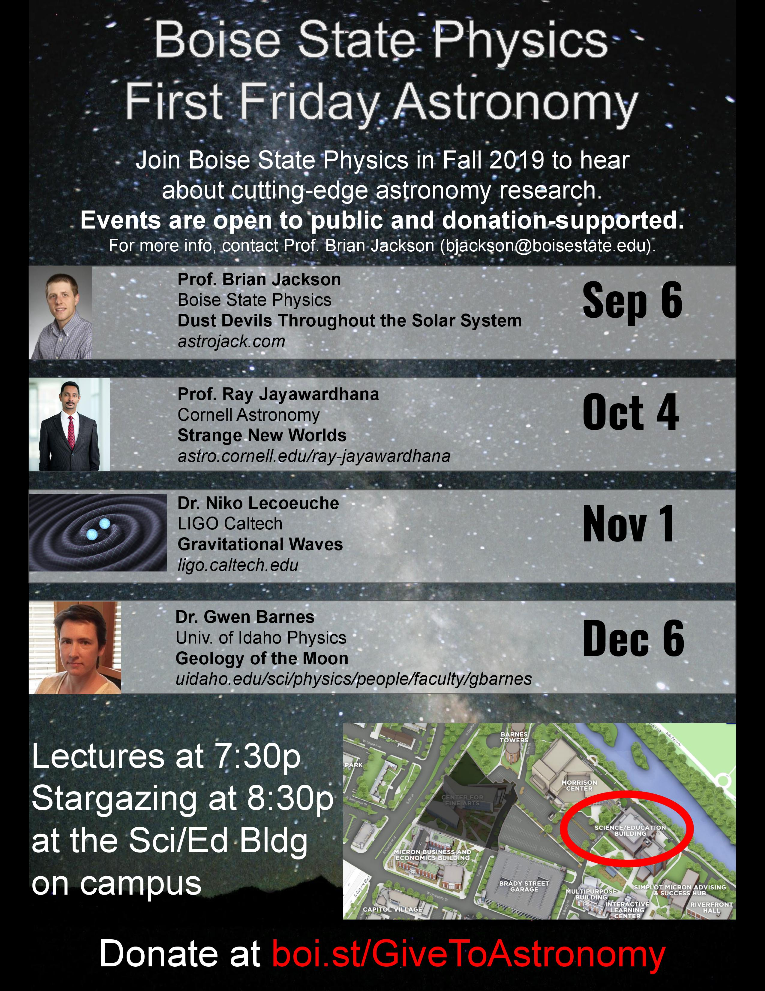 Announcement poster for astronomy events