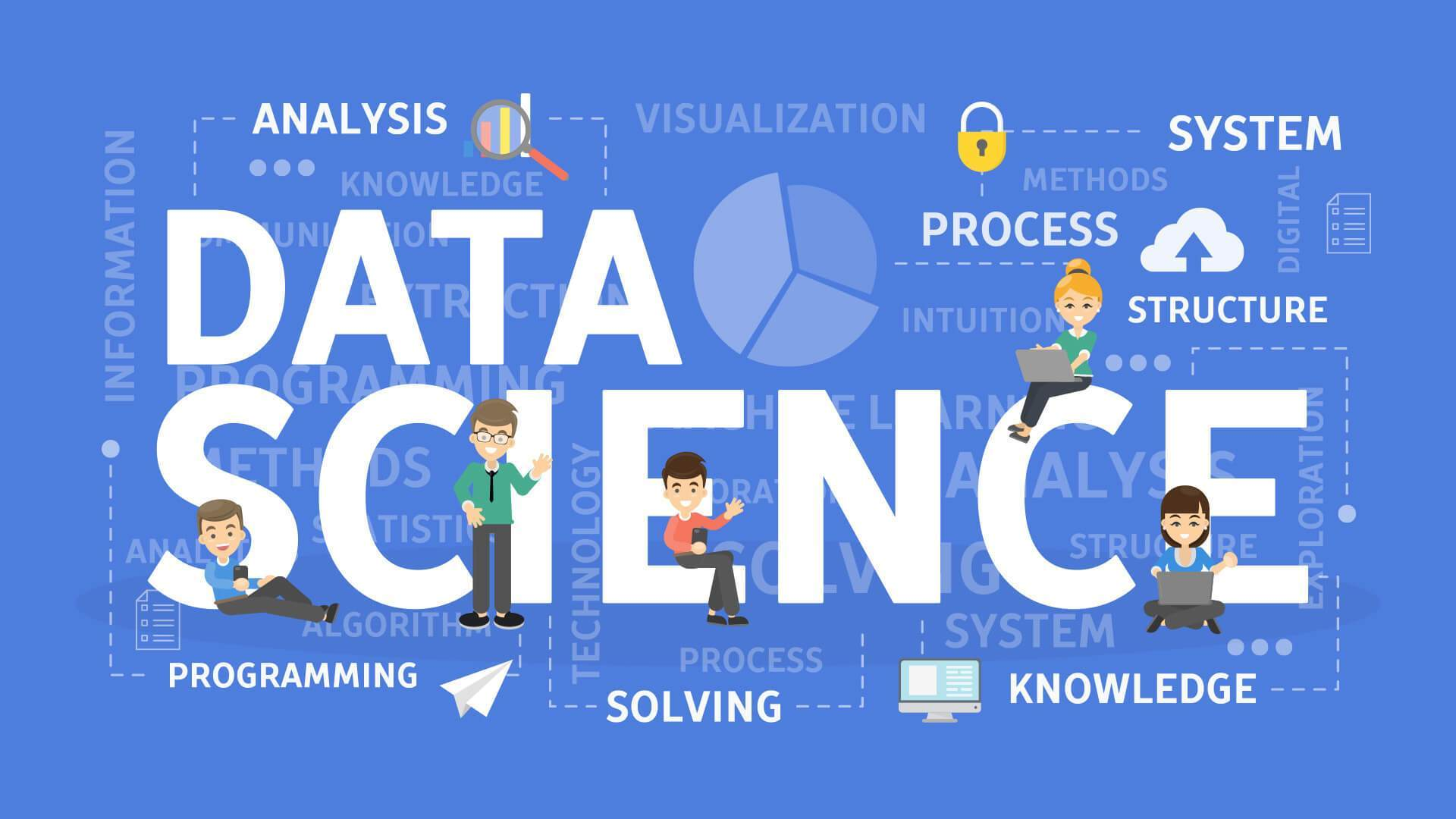 Data Science Infographic word cloud - analysis, system, process, structure, programming, solving, knowledge