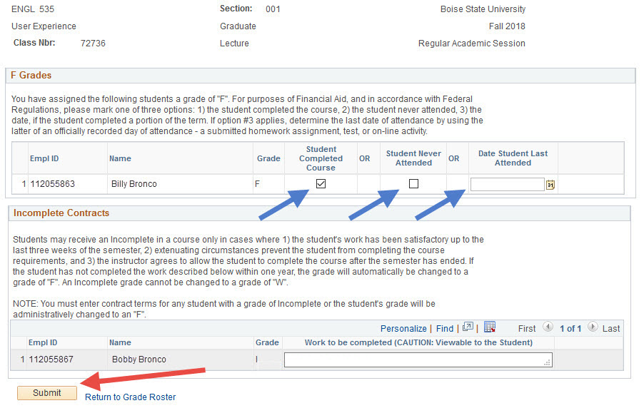 Example of selecting F grade reason for giving an F and selecting the Submit button.