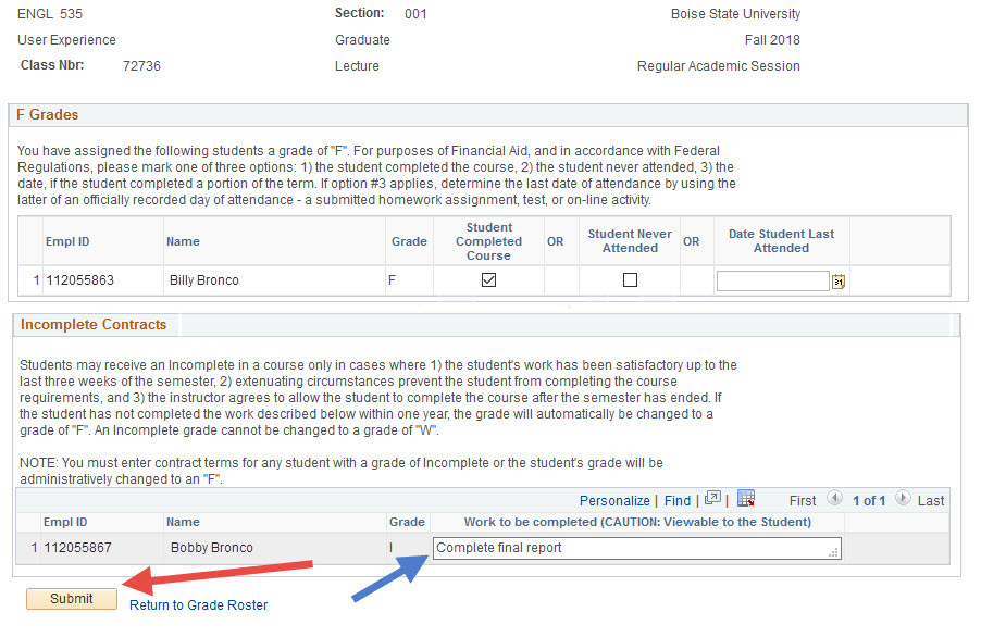 Example of entering an incomplete contract and selecting the Submit button.