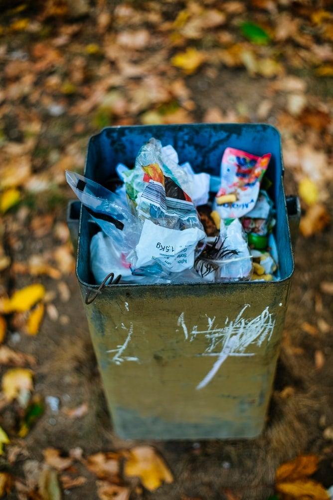 Trashcan full of garbage
