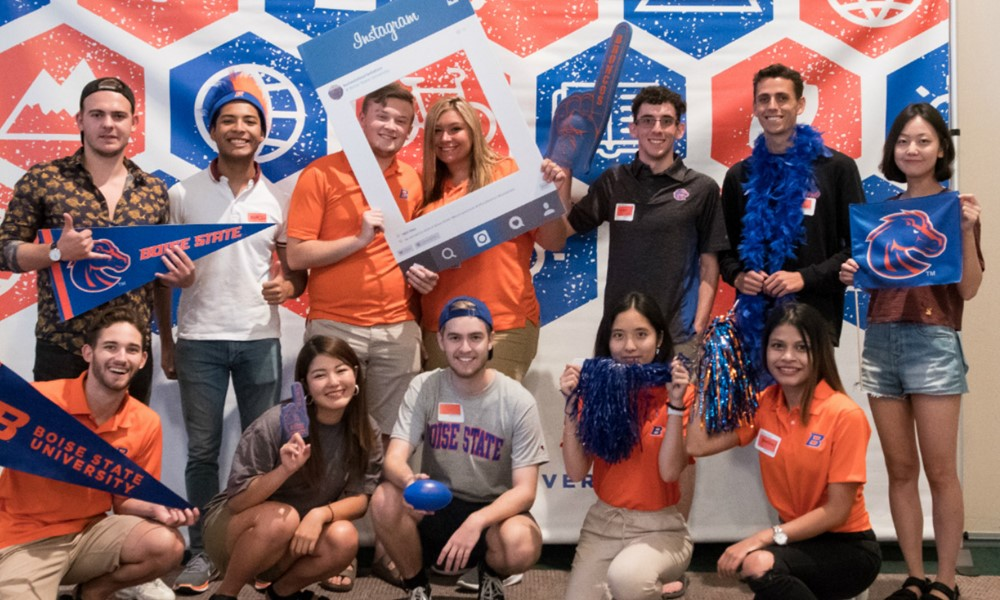 Group photo with Boise State gear