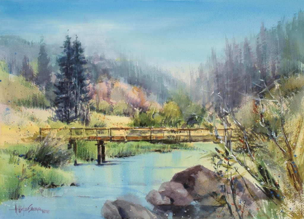 Watercolor painting of a bridge over a river in a forest