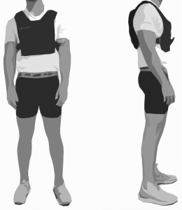 front and side view of participant with vest