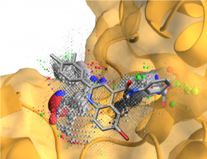 Image A has the structure of SMI-26 in grey overlaid on the IC binding site. The IC protein is depicted as a spacefilling model.