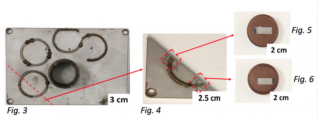 Fig 3, 3 cm, fig 4, 2.5 cm, fig 5 and 6 2cm