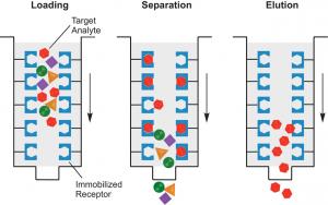 Illustration of gravity affinity chromatography toxin purification method