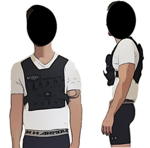 Front and side view of participants with weighted vest