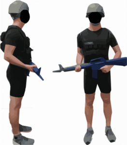 Side and front views of person wearing helment, weighted vest, and mock weapon