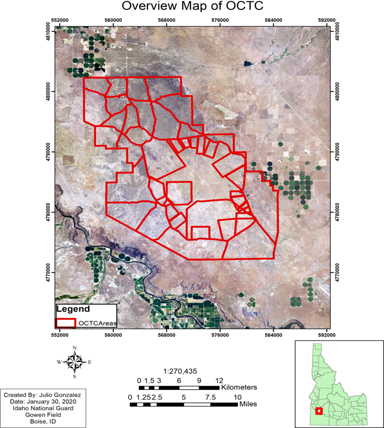 satellite aerial view of OCTC created by Julio Gonzolez Jan 30, 2020 Idaho National Guard Gowen Field Boise ID