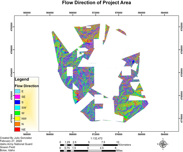 Flow direction of project area created by Julio Gonzalez Feb 27, Idaho Army National Guard Gowen Field Boise ID