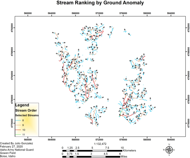 Stream ranking by ground anomaly created by Julio Gonzalez Feb 27, Idaho Army National Guard Gowen Field Boise ID