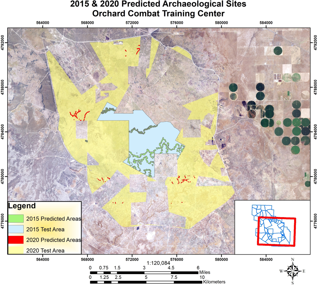 2015 and 2020 Predicted Archaeological Sites Orchard Combat Training Center created by Julio Gonzalez Feb 27, Idaho Army National Guard Gowen Field Boise ID