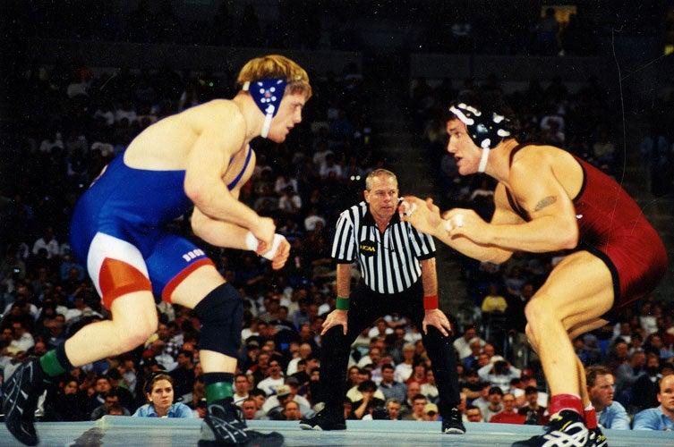 Kirk White wrestling an opponent