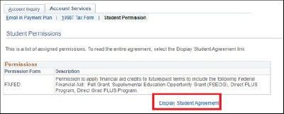 Student Permission Agreement details