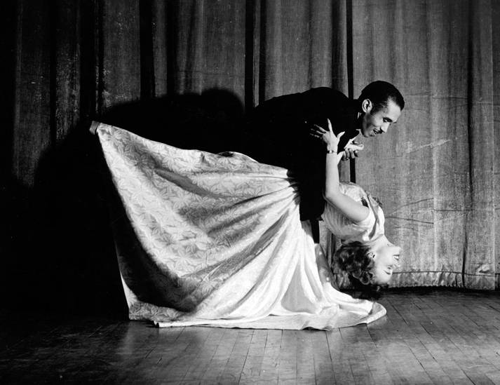 Pedro Ilisastegui and Pat Dyson dancing; a promotional picture for their tango during the intermission between the French and Spanish plays at Romance Language Night, January 16, 1950